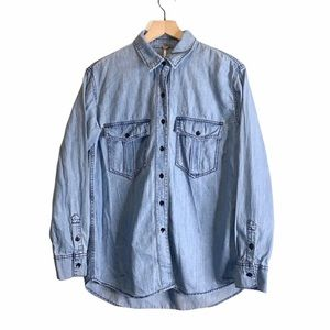 Free People Button Down Denim Chambray Top